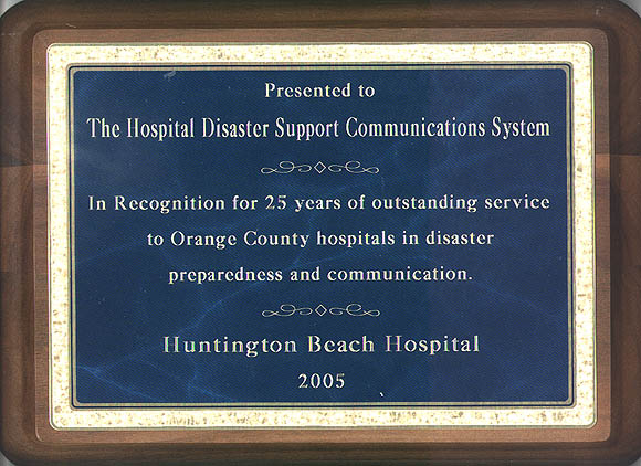 Award of appreciation from Huntington Beach Hospital